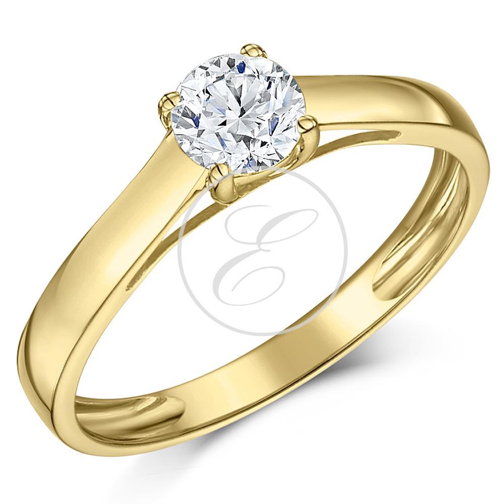 Engagement Rings Jewellery Quarter: 9ct Yellow Gold Engagement Ring Diamond Solitaire Quarter